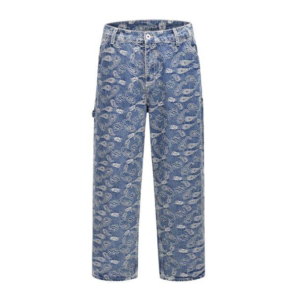 19SS New Fashion Brand Hip hop Streetwear Cashew flower Print high street Denim Washed straight Mens Jeans