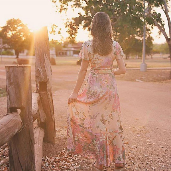 8e4ea4bb3ee Jastie Ethereal Lily Maxi Dress V-Neck Wrap Dresses Boho Chic Flounce Hem  Short Sleeve Summer Dress Casual Beach Women