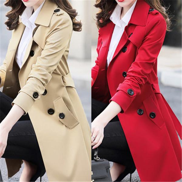 2019 6xl nova primavera outono das mulheres blusão coreano feminino tamanho grande seção longa chique trench coats a1525