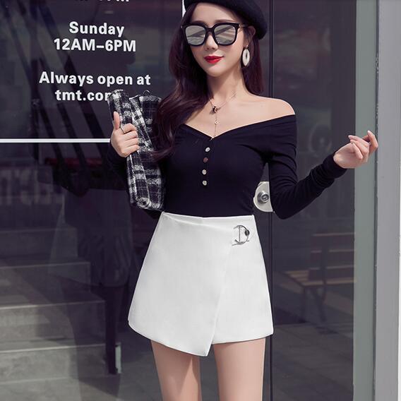 2020 novos calções de cintura alta preta elegante escritório trabalho senhora brancas calças curtas Plus Size bandagem saias zipper calções DF697