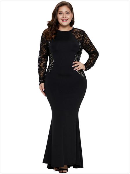2019 XL2XL 3XL 4XL 5XL Plus Size Long Sleeve Party Hollow Out Lace  Patchwork Dress Fat MM Elegant Office Ladies Dress Female Club Dress  DLM611001 From ...
