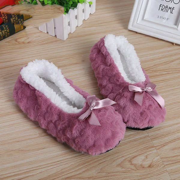 New Cute 2019 Indoor Home Slippers Warm Soft Plush Slippers Non-slip Indoor Fur Slippers Solid Color Cute Women Shoes