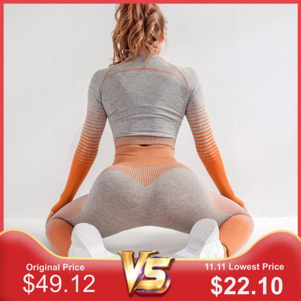Seamless Gym Suit 2 pedaço Sports Shirts Top Curto Seamless Leggings Sport Conjunto roupas de ginástica fitness Treino Workout Set Femme