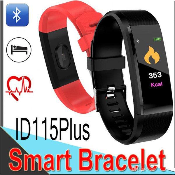 2019 ID115 Bluetooth Smart Bracelet Fitness Tracker Step Counter Activity Monitor Alarm Clock vibration Wristband for iphone Android phone