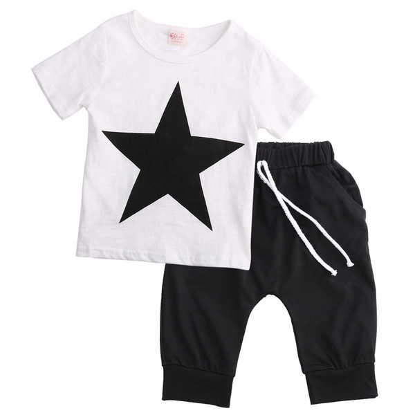 2PCS Children Boy Sets Short Sleeve Casual Star Print Cotton Tops And Lace Up Harem Pants Summer Outfits Set For Children