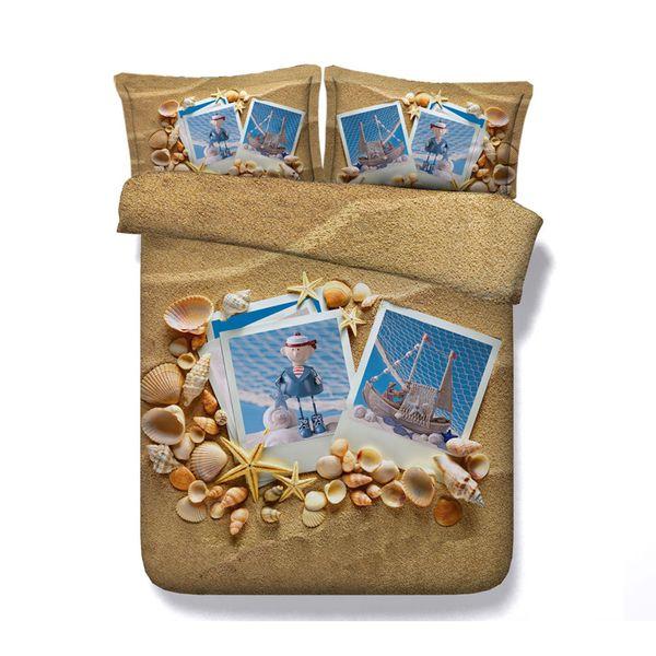 Seashell bedding 3 Piece Bedding Set With Pillow Shams Sunny Sea Sand Beach Theme Bedclothes Island Sea Life Wavy Bedlinen Kids
