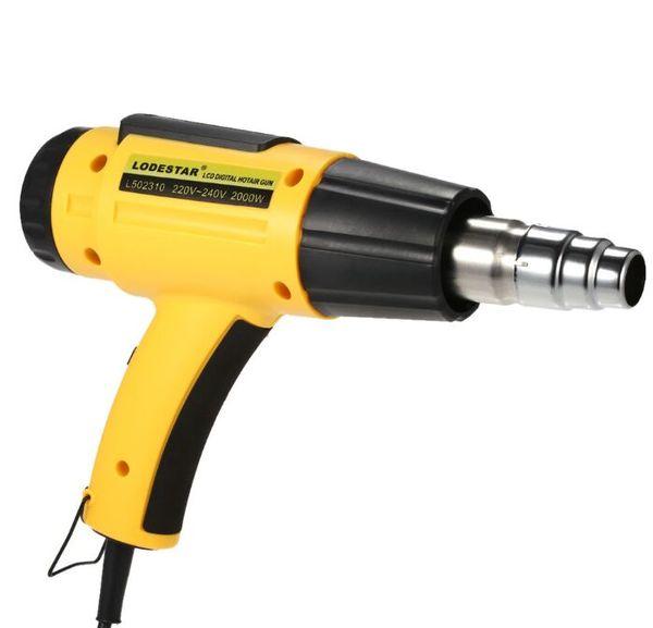 NUEVO 2000W AC220 LODESTAR Pistola de aire caliente eléctrica digital con control de temperatura IC SMD Calidad Herramientas de soldadura ajustables + Boquilla