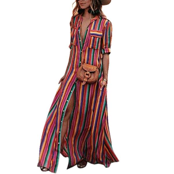 wholesale women maxi dress striped retro boho style 2019 autumn long shirt dress party female elegant dress plus size XXXL