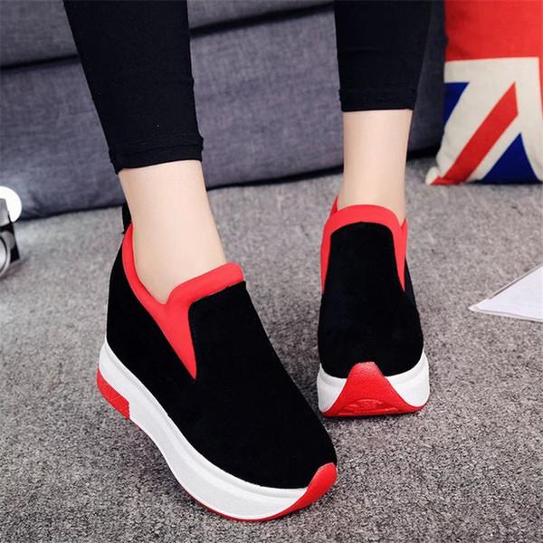 Chaussures habillées de marque COOTELILI Printemps Femme Chaussures Compensées Plateformes Faux-Mocassins Bout Rond à L'intérieur Augmentent Des Escarpins Slip-On Casual Femme