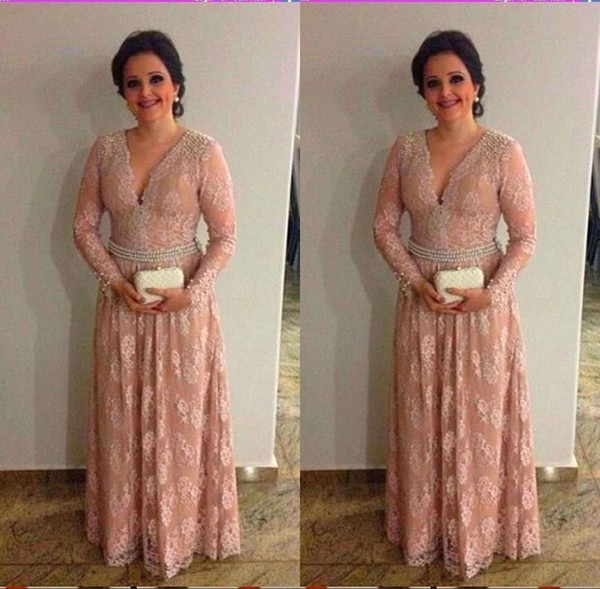 Modest Long Sleeve Mother of the Bride Dresses Lace Appliques V Neck Mother Dress with Sash Women Formal Wear BC2139