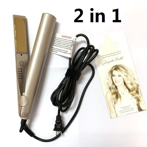 best selling 100%high qualit 2 in 1 Hair Curler Hair Straightener Gold Plate with High Quality US EU UK Plug With Sleeve Professional Salon Styling Tools