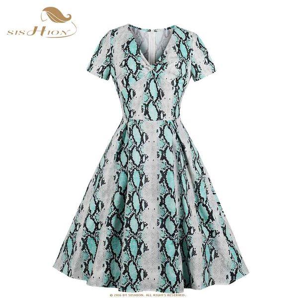 SISHION Summer Sexy Snake Print Dress 1765 Women Short Sleeve V Neck Swing Vintage A Line Ladies Dress vestidos mujer