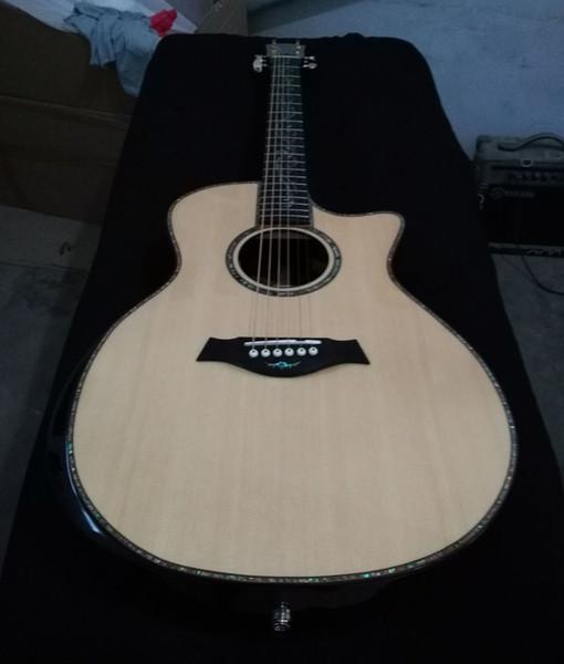 Guitare acoustique de luxe de 41 pouces, table en épicéa massif, touche et chevalet en ébène, incrustation Abalone et guitares encombrantes