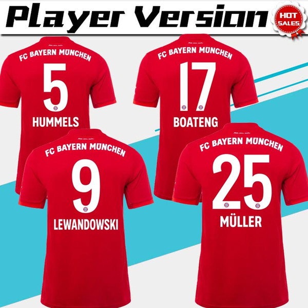 Versão do Jogador Champion league Bayern de Munique 2019 home Camisolas de Futebol Homens Camisas de Futebol Vermelho 1920 # 9 LEWANDOWSKI # 25 MULLER Uniformes de Futebol