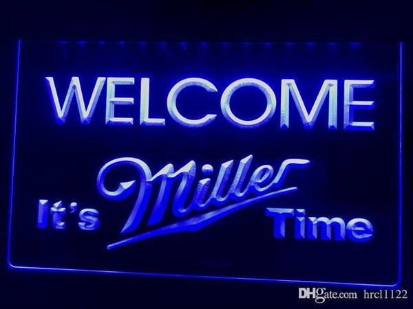 A206b- Il est temps Miller Bienvenue Bar LED Neon Light Sign