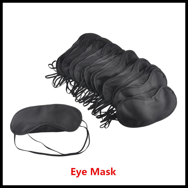 top popular Black Eye Mask Polyester Sponge Shade Nap Cover Blindfold Mask for Sleeping Travel Soft Polyester Masks 4 Layer free DHL 2019