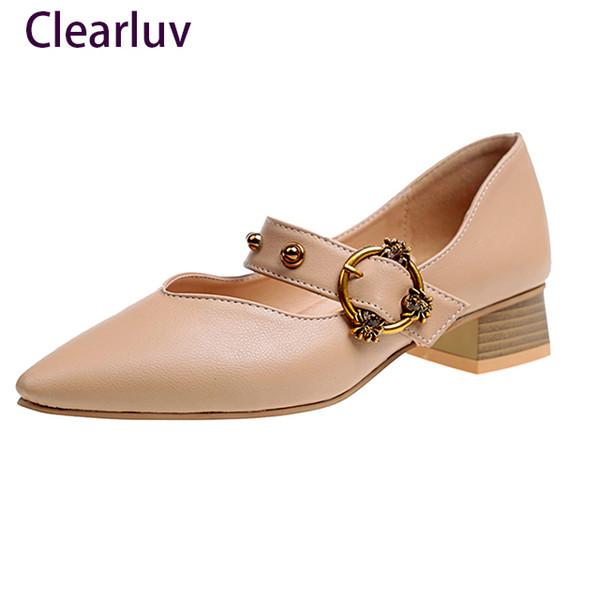 Chaussures habillées de grande taille, femme, femme, bout pointu, pantoufles, talons bas, dames, rivets, glissade sur Zapatos Mujer C029