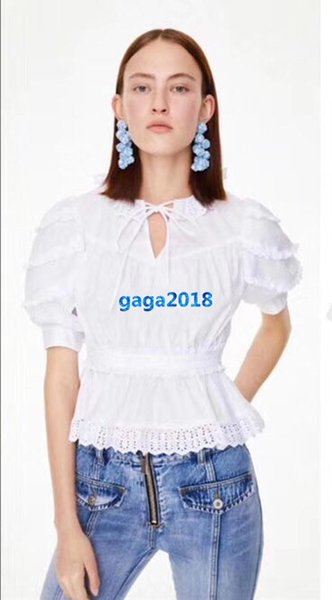 high end women girls white ruffle t-shirt peter pan collar short sleeves floral hollow out tee shirt casual blouse fashion design luxury top