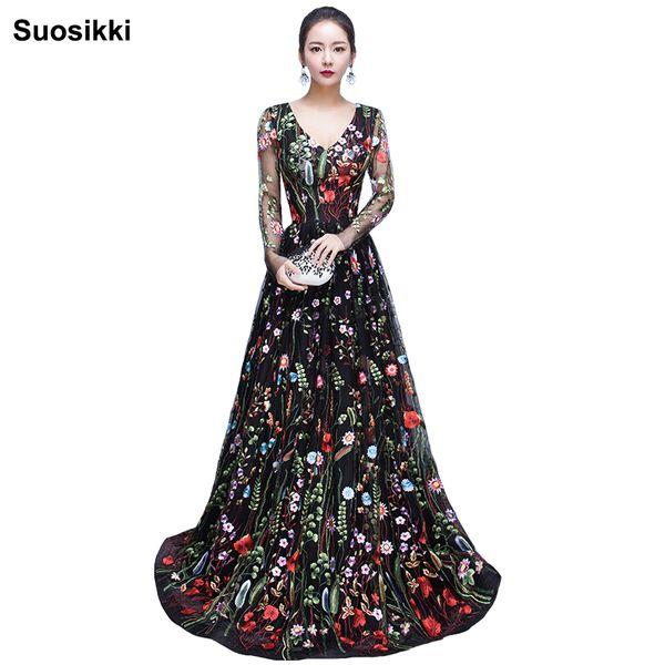 2018 Nuevo diseño bordado vestidos de noche largo de alta calidad con encanto una línea de encaje completo mangas vestido de fiesta vestido bata