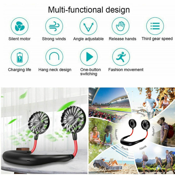 top popular 2020 Portable Neck Fans Neckband Fans With USB Rechargeable Battery Operated Dual Wind Head For Office Sport Hands-Free Fans 2021