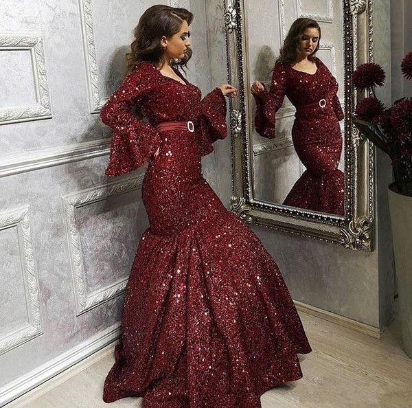 Glitter Sequins Burgundy Long Sleeve Mermaid Prom Dress Plus Size Formal  Evening Dresses Women Bling Vestidos Party Gowns Prom Night Dresses Resale  ...