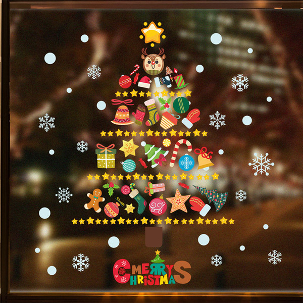 Merry Christmas Xmas Tree Snowman Wall Stickers Mural For Living Room Kids Room And Shop Windows Decoration Cheap Wall Stickers Cheap Wall Stickers
