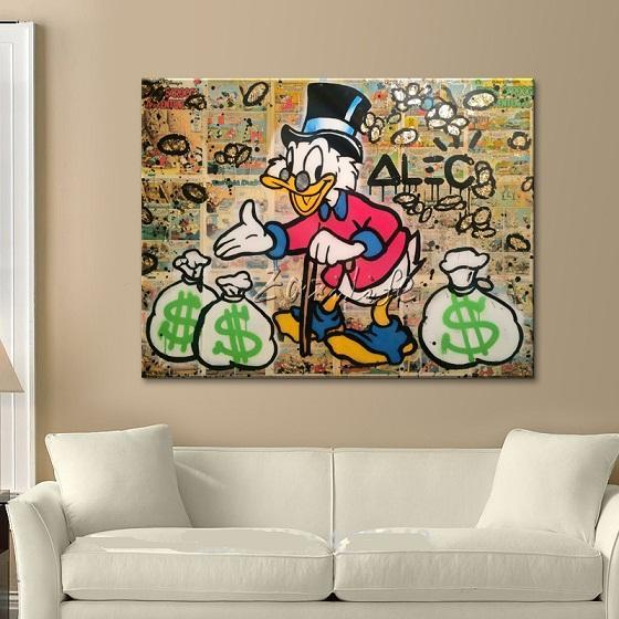 Alec Hand-painted Graffiti pop street Art Oil painting Daffy Duck On Canvas High Quality Wall Art Home Deco Multi sizes /Frame 213