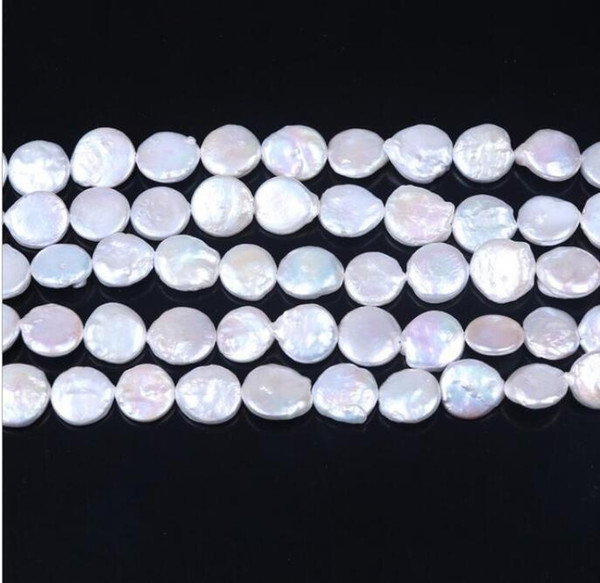 FREE SHIPPING 1pc Natural freshwater pearl necklace, 12-13MM button bead, semi-finished bead