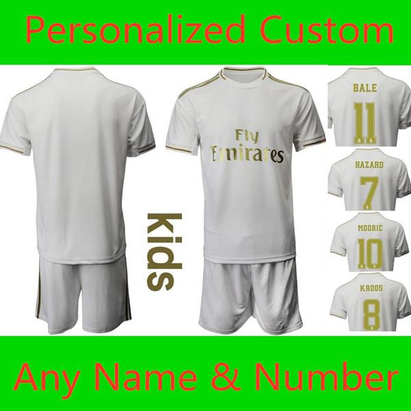 La Liga Kişiselleştirilmiş Özel Çocuk Real Madrid Futbol üniforma 11. BALE 10.MODRIC 8.KROOS 7. TEHLİKE Çocuk 2019 2020 Futbol Takımları topluluk ayak