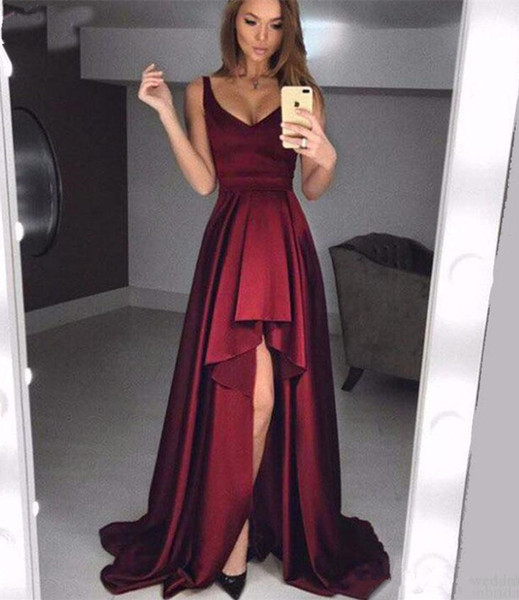 Hot Sale Ruched Satin High Low Prom Dresses 2019 Sexy Off Shoulder Zipper Back Maid of Honor Party Evening Gowns