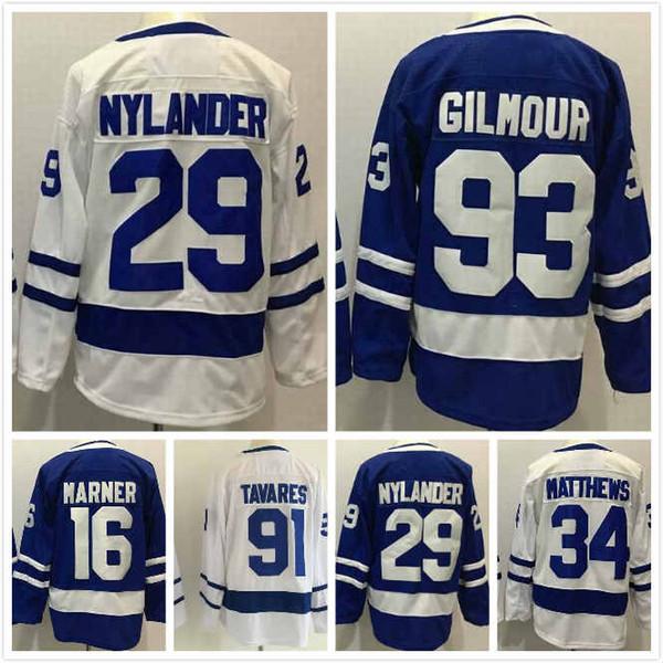 Cheap Toronto Maple Leafs Auston Matthews Jersey 34 William Nylander 29 John Tavares 91 Mitchell Marner 16 Doug Gilmour 93 Stitched S-3XL