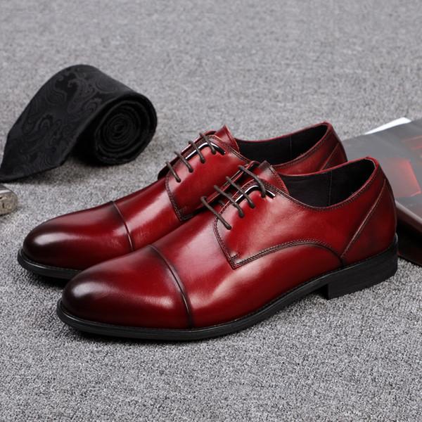 Vino negro Rojo Hombres Zapatos de vestir Piel de vaca genuina con cordones Zapatos formales de negocios Cap Toe Hombres Derby para la fiesta de bodas de la oficina
