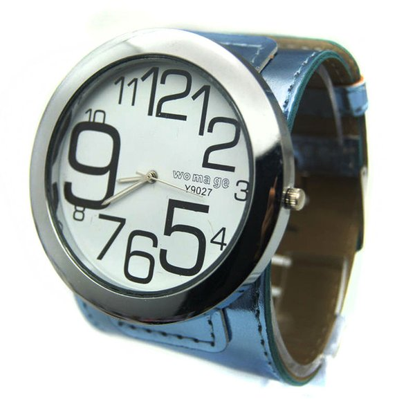 womage brand fashion big watch 8 colors leather strap big round dial quartz wristwatches for women men hot