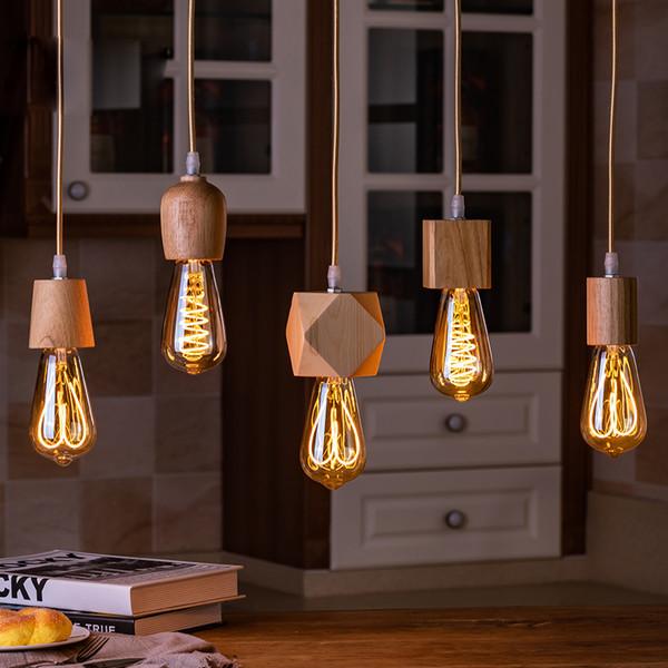 Ceiling Lights & Chandeliers Home, Furniture & DIY E27 Wood Pendant Ceiling Hanging Lamp Chandelier Indoor Light Fixtures 4 Colors