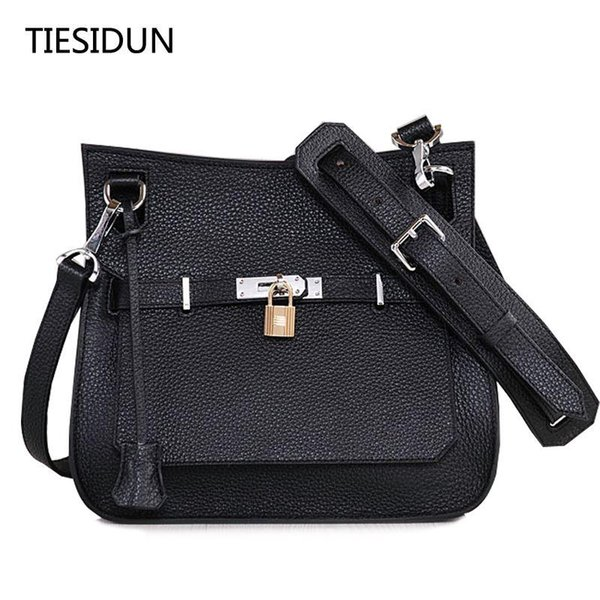 2017 high-end quality of the new leather buckle platinum package big fashion first-class cowhide shoulder Messenger bag
