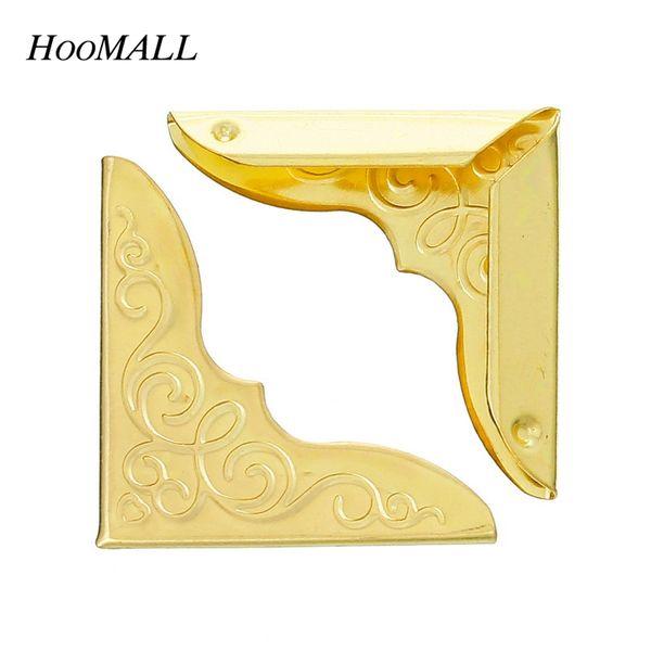 abridor de cajas Hoomall Nuevo 100 Unids Metal Book Corner Cantoneira Álbumes Menús Carpetas Box Corner Protectors For Decor Light-Gold 23x23mm