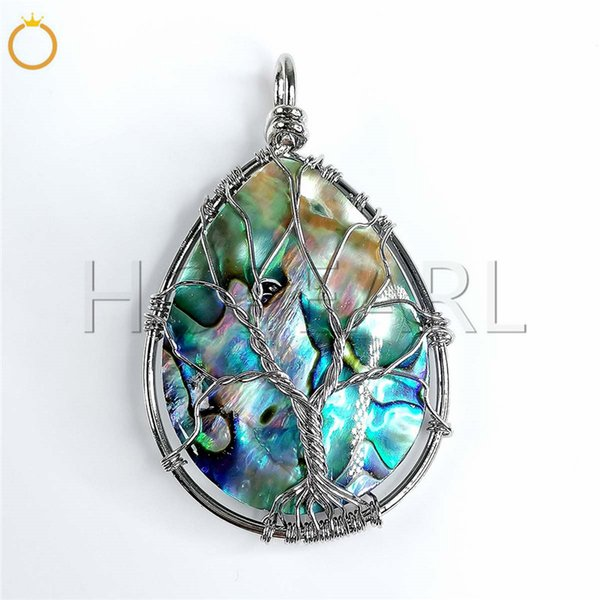 natural gemstone water drop abalone shell organic cabochon pendant tree of life beach boho chic jewellery