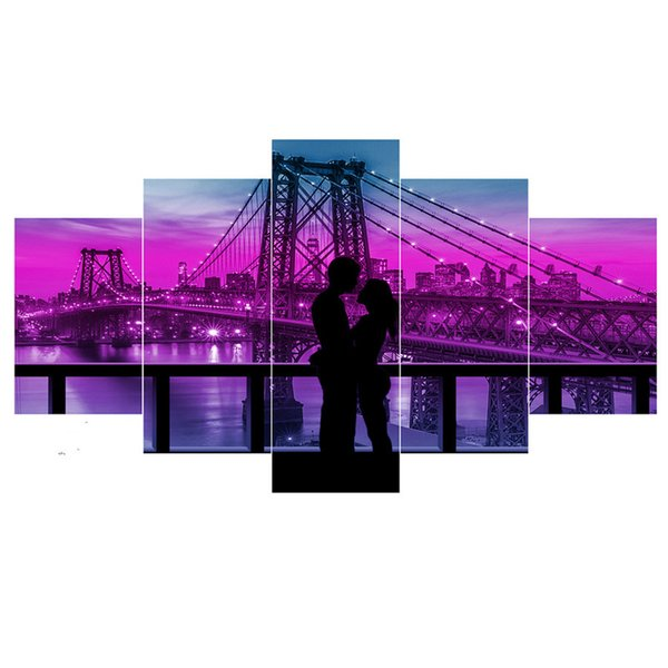 "5 Pcs Full square 5d diy Cross Stitch Diamond Painting ""city night bridge couple""diamond Picture Embroidery Diamond Mosaic kit"