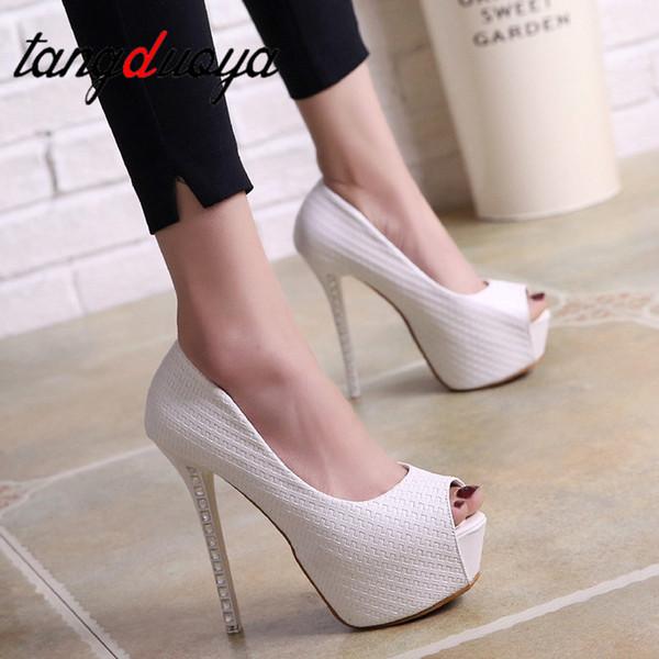 strass high heels Plattform Frauen Pumpt Solide Flock High Heels 14 cm Schuhe frauen Peep Toe Flache Sexy Party Schuhe Hochzeit