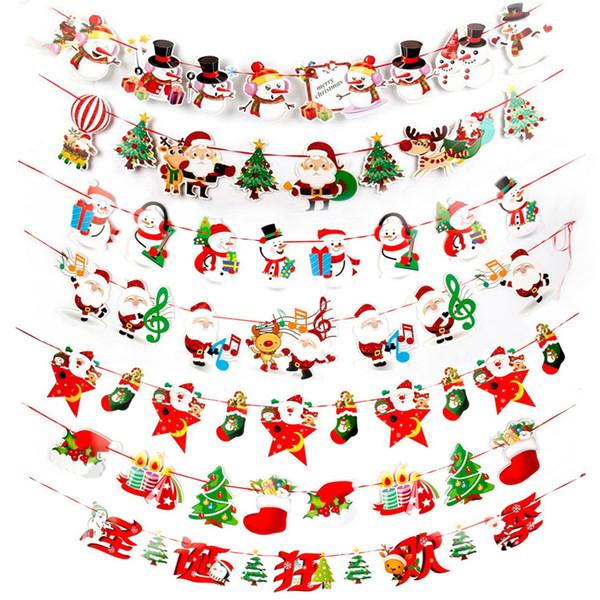 Compre 20 Decoraciones Navideñas Muy Singulares Bandera De Dibujos Animados Bandera Colorida Decoración De La Escena De Navidad Bandera De Navidad