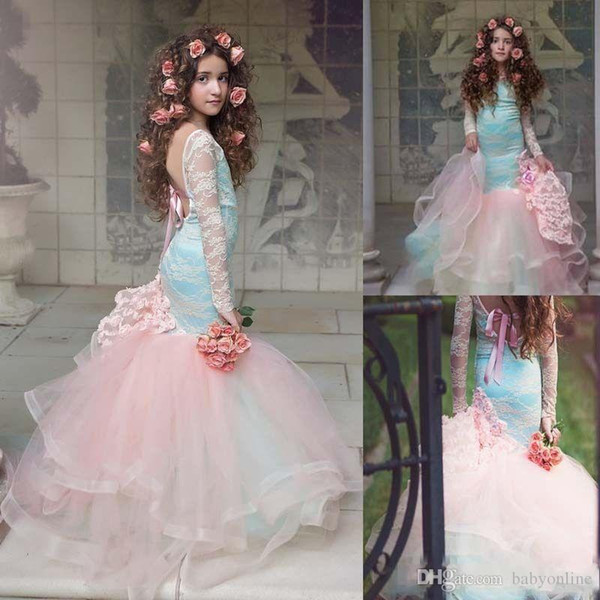 Gorgeous Pink Mermaid Flower Girls Dresses Lace Long Sleeves Tired Tulle Pageant Gowns for Little Girl Children Party Dresses Custom