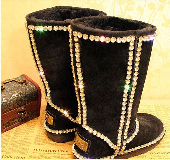 Hot Sale- Australia Women Wedding Boots premium grade A claw diamond gem diamond genuine leather handmade Xiangtie Tall snow boots