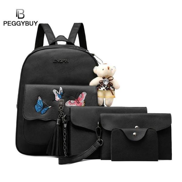 2019 4 pezzi / set Farfalla con nappe stampa farfalla Zaino da spalla a tracolla Borse Orso Ciondolo Pochette Borse a tracolla Porta carte