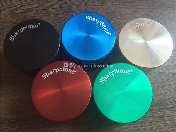 DHL free 40mm 50mm 55mm 63mm 75mm 4 parts SharpStone Tobacco Grinder herb grinder cnc teeth filter net dry herb vaporizer pen