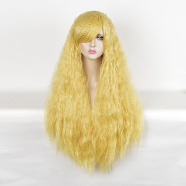 Gorro de agua largo rizado rizado Shaggy Big Hair Pastel Amarillo BLONDE Peluca Afro Pelucas