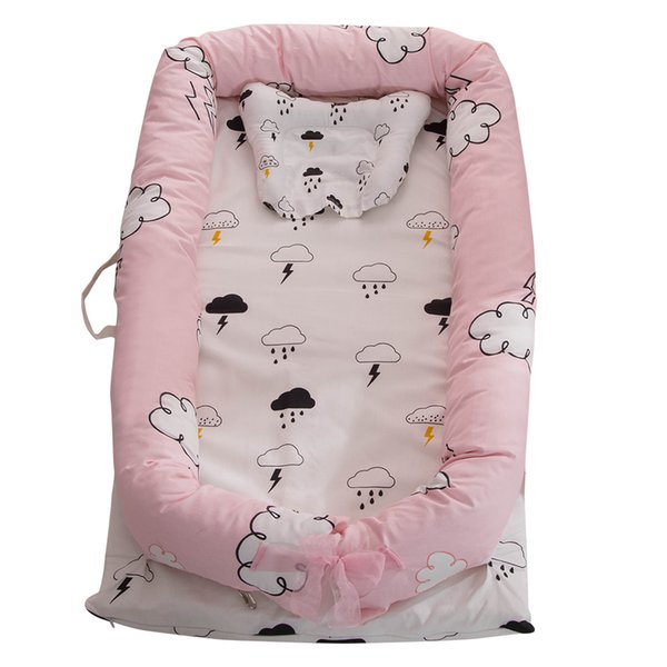 Portable Baby Crib for Baby Bed Co-Sleeping Bassinet Cradles Nest Cot 100% Cotton Super Soft Washable Infant Newborn