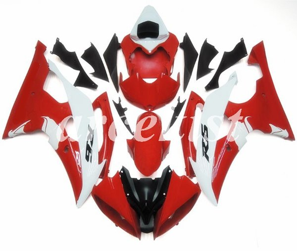 YAMAHA YZF-R6 2008 2009 2010 2011 2012 2013 2014 2015 2016 İçin 4 Hediyeler Yeni ABS Tam Kalafatlama seti uyum Kaporta Özel Kırmızı siyah set