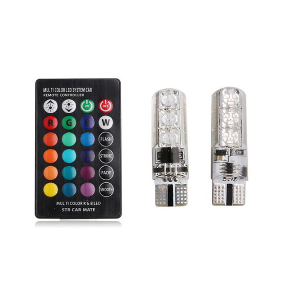 2pcs/pair T10 5050 Remote Control Car Led Bulb 6 Smd Multicolor W5w 501 Side Light Bulbs Free Shipping via DHL