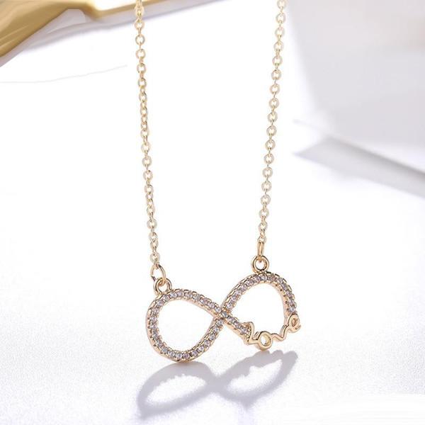 Collana in argento sterling 925 Forever Love Infinity Heart Ciondolo amore Zircone placcato oro Collana da donna CZ Regalo per la festa della mamma