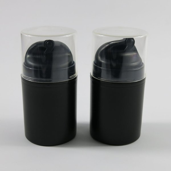 12pcs 50ml Negro Airless Pump Lotion PP Botella Airless Container Envase de cosméticos con tapa transparente